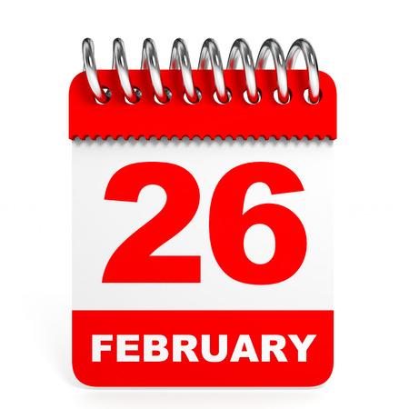 twenty six: Calendar on white background. 26 February. 3D illustration. Stock Photo