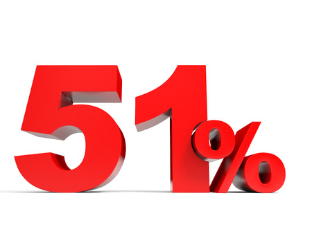 51: Red fifty one percent off. Discount 51%. 3D illustration.