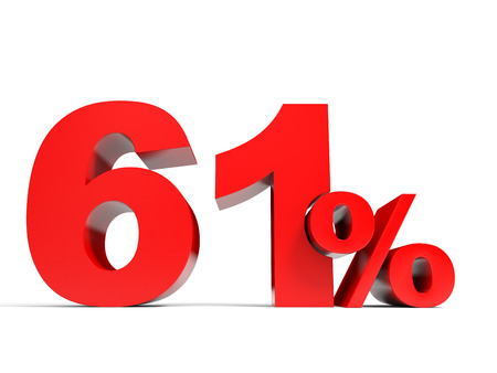 price hit: Red sixty one percent off. Discount 61%. 3D illustration. Stock Photo