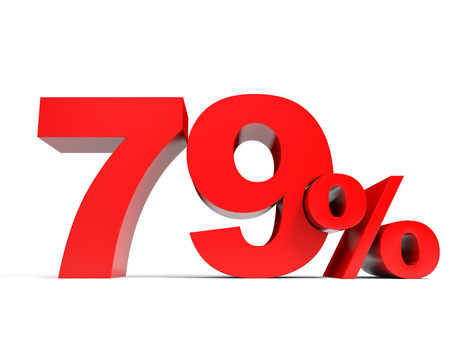 price hit: Red seventy nine percent off. Discount 79%. 3D illustration.