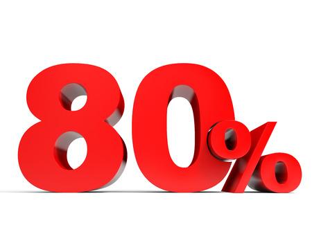 achtzig: Red achtzig Prozent aus. 80% Rabatt. 3D-Darstellung.