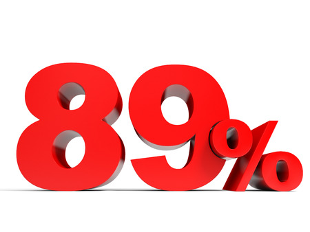 eighty: Red eighty nine percent off. Discount 89%. 3D illustration.