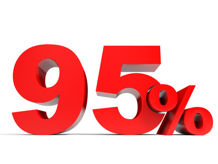 95: Red ninety five percent off. Discount 95%. 3D illustration.