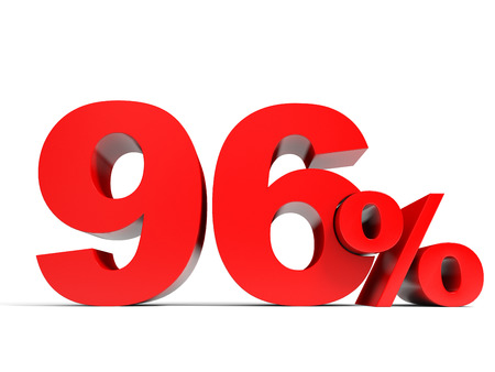 ninety: Red ninety six percent off. Discount 96%. 3D illustration. Stock Photo