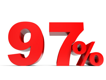 price hit: Red ninety seven percent off. Discount 97%. 3D illustration. Stock Photo