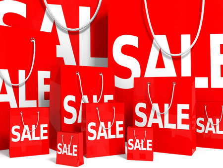 holiday profits: Shopping bags on white background. Sale. 3D illustration.