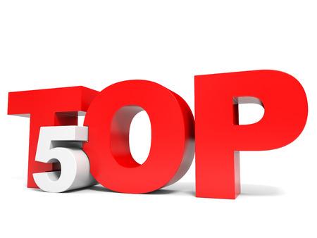 Top 5. Five. 3D illustraion. Banque d'images