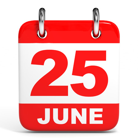 twenty fifth: Calendar on white background. 25 June. 3D illustration.