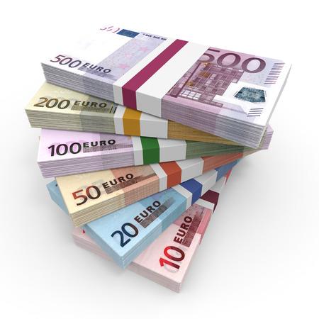 Money stacks. Euro bank notes. 3D illustration. Stock Photo