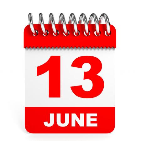 13: Calendar on white background. 13 June. 3D illustration.