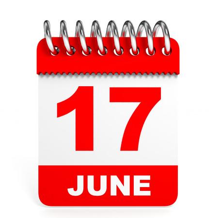 17: Calendar on white background. 17 June. 3D illustration. Stock Photo