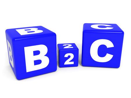 b2c: B2C cubes on white background. 3D illustration. Stock Photo