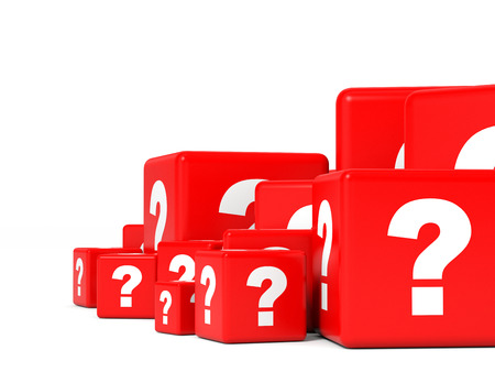whose: Cubes with question sign. 3D illustration. Stock Photo