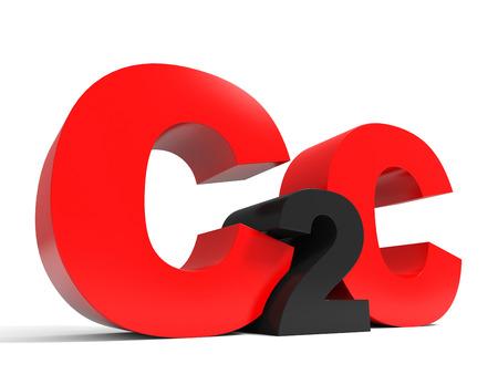 b2c: B2C volume letters on white background. 3D illustration.