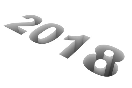 year 3d: 2018 New Year. 3D illustration. Stock Photo