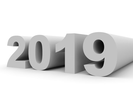 year 3d: 2019 New Year. 3D illustration.
