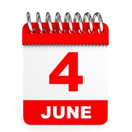 Calendar on white background. 4 June. 3D illustration.