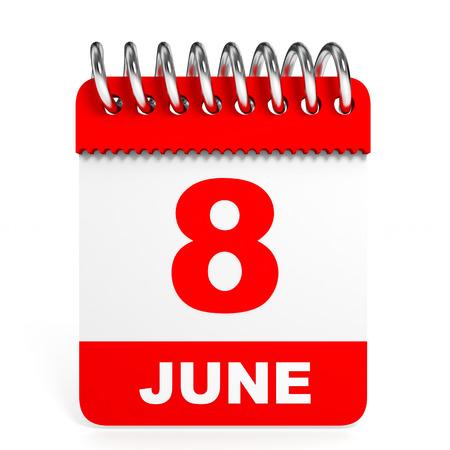 Calendar on white background. 8 June. 3D illustration. illustration