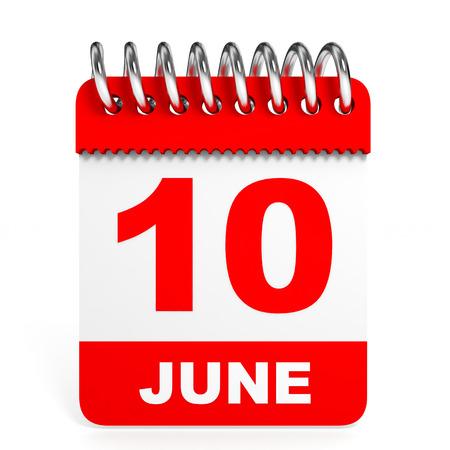 tenth: Calendar on white background. 10 June. 3D illustration. Stock Photo