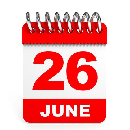 twenty six: Calendar on white background. 26 June. 3D illustration.