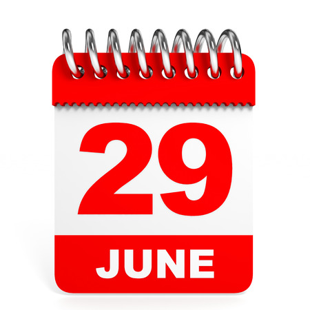 twenty ninth: Calendar on white background. 29 June. 3D illustration. Stock Photo