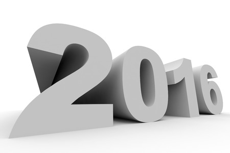 year 3d: 2016 New Year. 3D illustration. Stock Photo