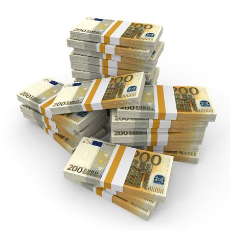 Stacks of money. Two hundred euros. 3D illustration. Banque d'images