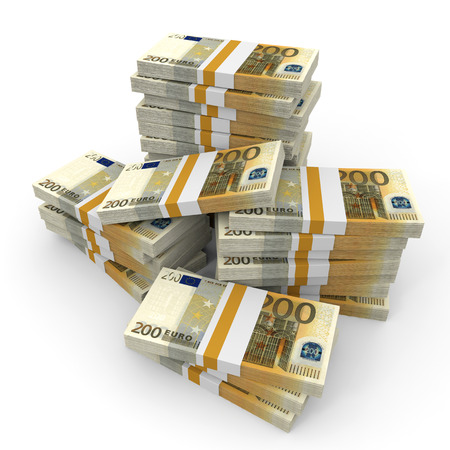 Stacks of money. Two hundred euros. 3D illustration. Stock Photo