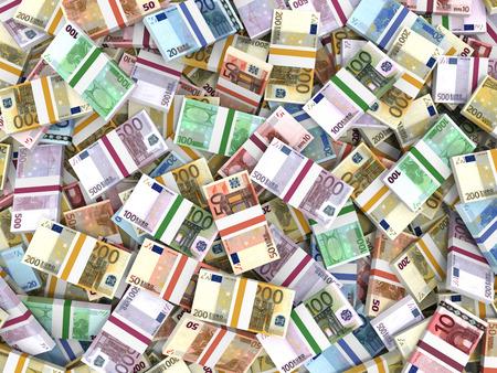 Money stacks. Euro bank notes. 3D illustration. Stock Photo - 37808322