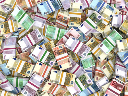 Money stacks. Euro bank notes. 3D illustration. Stock Photo