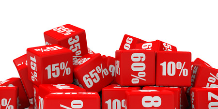 Red discount cubes. 3D illustration. Standard-Bild