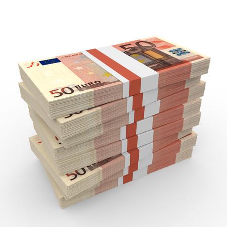 Stacks of money. Fifty euros. 3D illustration.