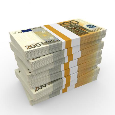 Stacks of money. Two hundred euros. 3D illustration. 版權商用圖片