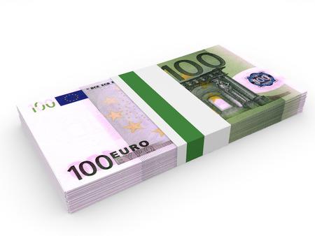 Pack of banknotes. One hundred euros. 3D illustration.