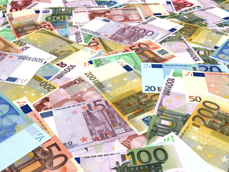2 50: Euro bank notes background. Perspective view. Stock Photo
