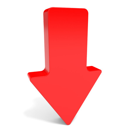 red arrow: Red arrow down. 3D illustration. Stock Photo