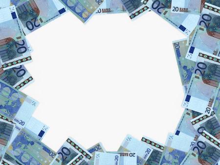 twenty: Euro background. Twenty euros. 3D illustration.