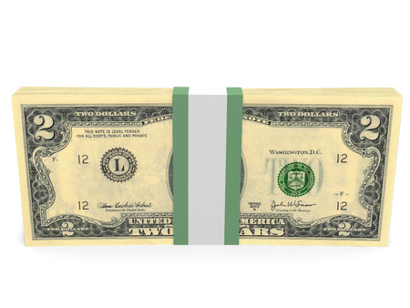 pack of dollars: Pack of banknotes. Two dollars. 3D illustration.