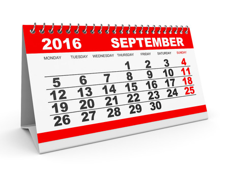 calendar september: Calendar September 2016 on white background. 3D illustration.