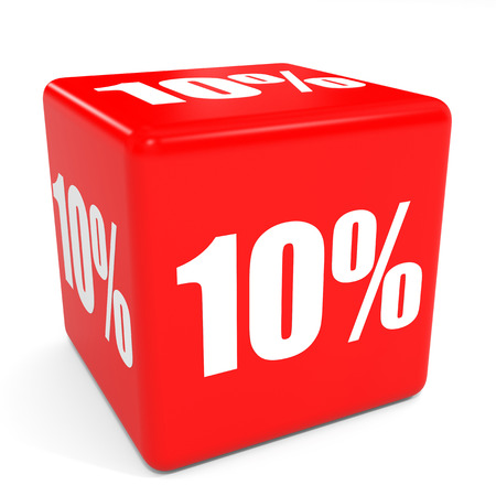 3D red sale cube. 10 percent discount. Illustation.