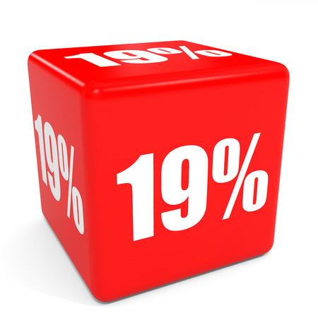 19: 3D red sale cube. 19 percent discount. Illustation.