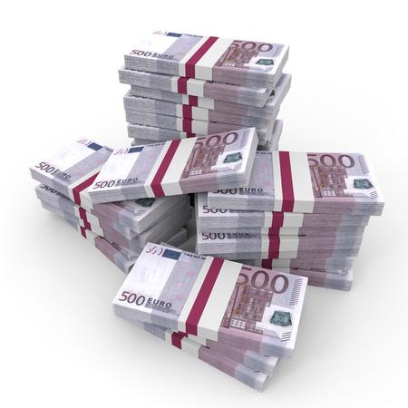 Stacks of money. Five hundred euros. 3D illustration.