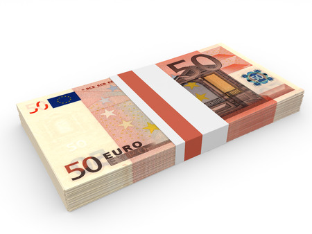 Pack of banknotes. Fifty euros. 3D illustration.