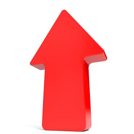 up arrow: Red up arrow. 3D illustration.