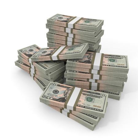 お金のスタック。20 ドル。3 D イラスト。