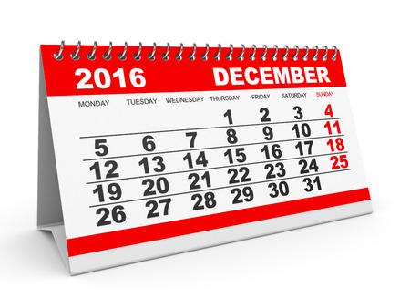 calendario diciembre: Calendario diciembre 2016 en el fondo blanco. Ilustración 3D.