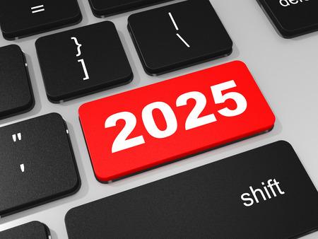 2025 new year key on keyboard. 3D illustration. 版權商用圖片