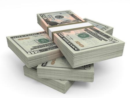 돈의 스택입니다. 20 달러. 3D 그림입니다.
