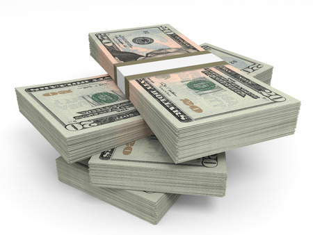 Stacks of money. Twenty dollars. 3D illustration. Standard-Bild