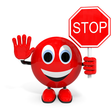 one lane street sign: Stop. Illustration with 3d character.